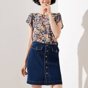 Ann Taylor Loft Button Down denim Skirt